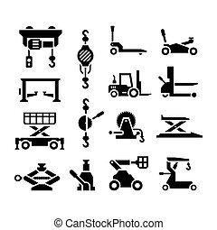 équipement, ensemble, levage, icônes