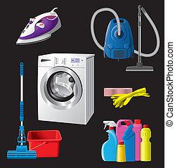 équipement, ensemble, nettoyant foyer