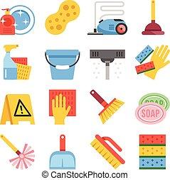 équipement, ensemble, outils, nettoyage, icônes