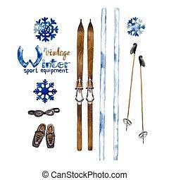 équipement, ensemble, ski, vendange