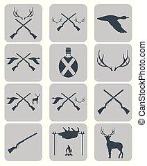 équipement, ensemble, trophées, chasse, icônes