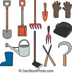 équipement, ensemble, vecteur, jardinage