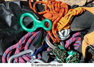 équipement, escalade, cordes, chaînes, harnais