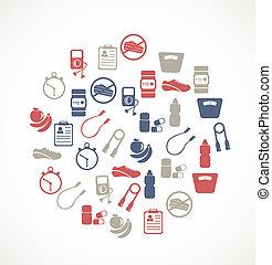 équipement, exercice, icônes