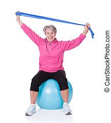 équipement, femme aînée, exercisme, étirage