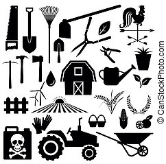 équipement ferme, ensemble, vecteur, agricole