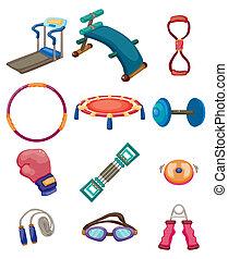 équipement, fitness, dessin animé, icônes
