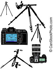 équipement, fond blanc, photographer\'s