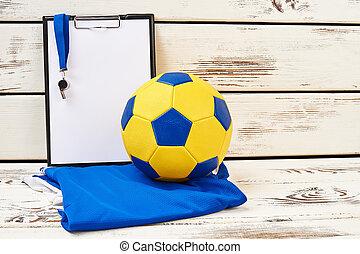 équipement, football, trainer's, presse-papiers