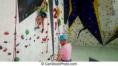 équipement, grimpeurs, habillé, escalade, gymnase, ...