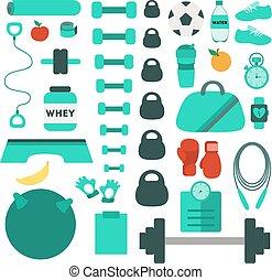 équipement, gymnase, icons.