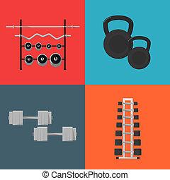 équipement, gymnase, sports, set., icônes
