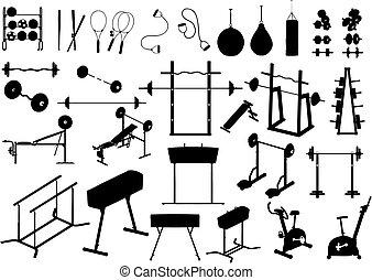 équipement, gymnase, (vector)