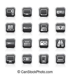équipement, high-tech, icônes
