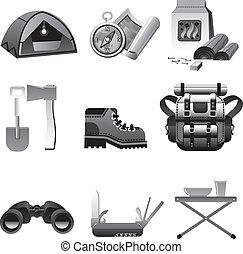 équipement, icône, tourisme, gris