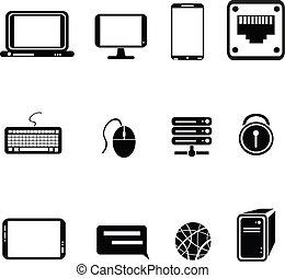 équipement, icônes ordinateur