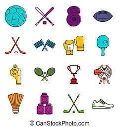 équipement, icônes, sport, ensemble, griffonnage