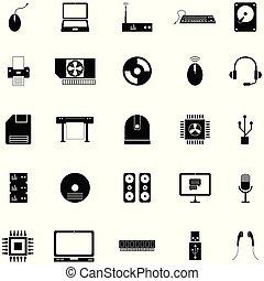 équipement, informatique, ensemble, icône