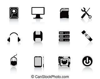 équipement, informatique, noir, icône