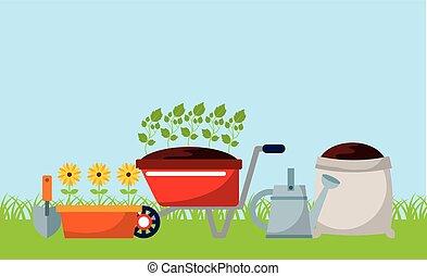 équipement, jardinage, conception