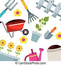 équipement, jardinage, fond, icônes