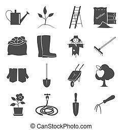 équipement, jardinage, icônes