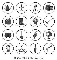 équipement, jardinage, rond, icônes
