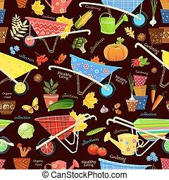 équipement, légumes, jardinage, seamless, texture