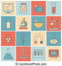 équipement, laboratoire, ligne, plat, icônes