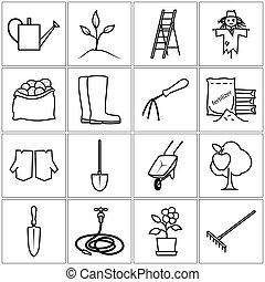 équipement, ligne, jardinage, icônes