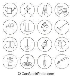 équipement, ligne, jardinage, mince, icônes