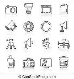 équipement, ligne, photographie, icônes