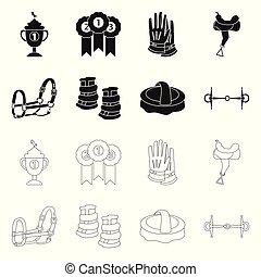 équipement, logo., vecteur, concurrence, stock., équitation...