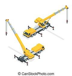 équipement, lourd, grue, isométrique, machinerie