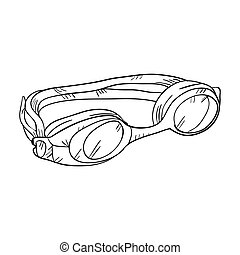 équipement, lunettes protectrices, natation