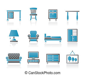 équipement, maison, meubles, icônes