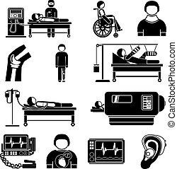équipement, monde médical, soutien, vie, icônes