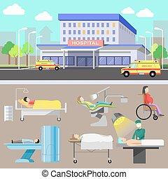 équipement, monde médical, staff., diagnostique