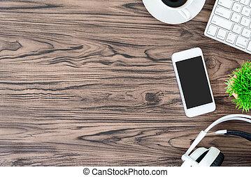 équipement musique, bureau bureau, casque, bois, vue, copie, écoute, sommet, blanc, space., table, fonctionnement, brun