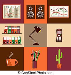 équipement, objects., bureau, ensemble, choses, vecteur, plat