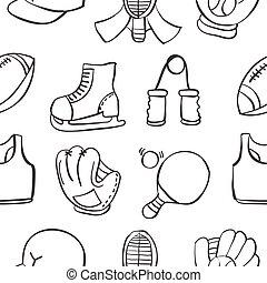 équipement, objet, sport, illustration, doodles