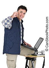 équipement, ordinateur portable, carreleur, tenu