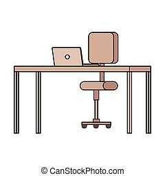 équipement, ordinateur portable, chaise, bureau bureau