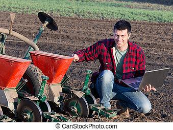 équipement, ordinateur portable, semailles, paysan