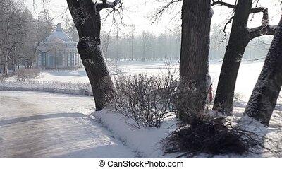 équipement, parc, déménagement, hiver, neige