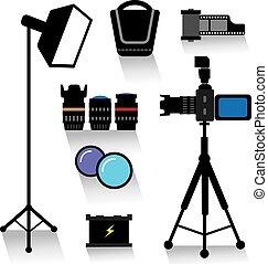 équipement, photo, ensemble, icône