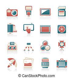 équipement, photographie, icônes