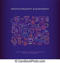 équipement, photographie, vecteur, bannière