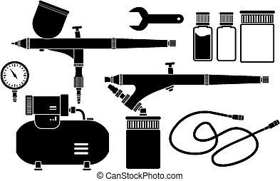 équipement, pictogramme, -, airbrush