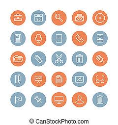 équipement, plat, objets, icônes bureau